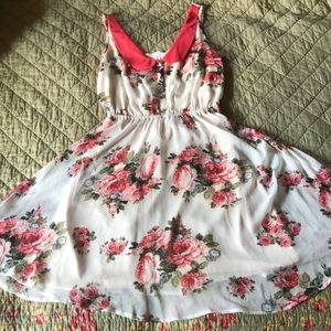 Xhilaration small white and pink floral dress